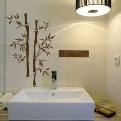 blumen-dekoration-bad-kreativ- bambusstücke malerschablone - 30 super Ideen für kreative Badezimmergestaltung
