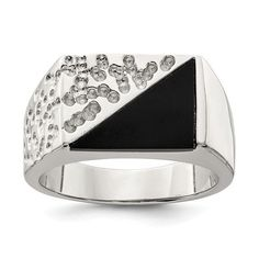 Sterling Silver Men's Onyx Ring / STYLE: QR1275-9 #MensOnyxRing #Onyx #SterlingSilver #OnyxRing #OnyxJewelry Silver Grillz, Men's Jewelry Rings, Gemstone Jewelry, Fine Jewelry, Mens Ring Sizes, Onyx Ring, Size 10 Rings, Silver Man, Fashion Rings