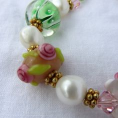 pink crystal shabby chic things | Shabby Chic Jewlry Pink Rose Lampwork Bracelet Shabby Chic Jewelry ...