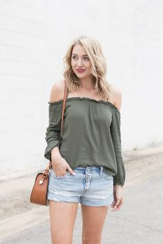 Cold shoulder top with denim shorts | Love, Lenore