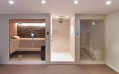 Moderne villa Schellen Architecten - The Art of Living (BE) Home Spa Room, Spa Rooms, Sauna Steam Room, Sauna Room, Bathroom Spa, Bathroom Interior, Bathroom Plants, Piscina Spa, Indoor Sauna