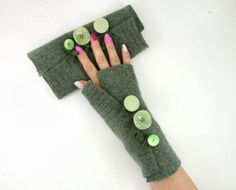Moss Green Fingerless mittens recycled wool  fingerless gloves arm warmers arm cuffs verdigris eco friendly fashion recycled wool tagt team