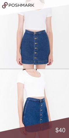 AA Denim Skirt Only worn a few times. In great condition. Fits size 4 or smaller 6 the best. American Apparel Skirts Mini