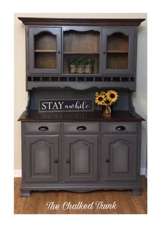 This hutch was painted with Dixie Belle Paint - Hurricane Gray and Driftwood. Hutch Furniture, Gray Painted Furniture, Painted Hutch, Distressed Furniture, Paint Furniture, Repurposed Furniture, Furniture Makeover, Chalk Paint Hutch, Distressed Hutch