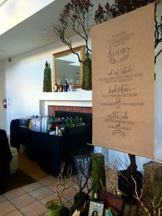 A fun and creative way to display a reception menu!