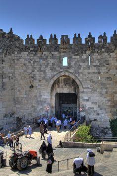 Damascus Gate, divides the Moslem Quarter from the Christian Quarter in Old Jerusalem.