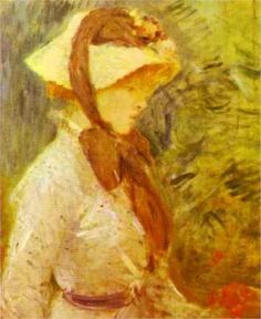 Young Woman with a Straw Hat: 1884 by Berthe Morisot (National Gallery of Art, Washingon, DC, USA) - Impressionism