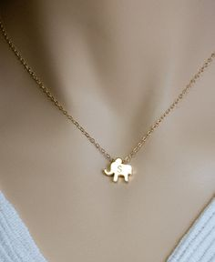 Personalized Gold Jewelry - Elephant Necklace
