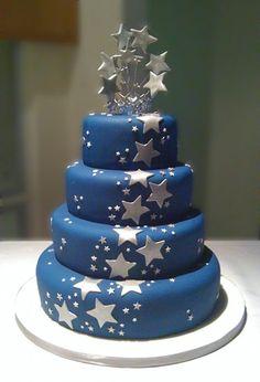 Navy & Silver Star Themed Wedding Cake