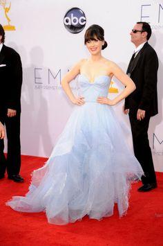 Zooey Deschanel in powder blue Reem Acra at the 2012 Emmys