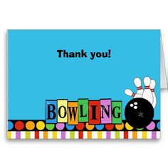 RETRO BOWLING PARTY Folded Thank you notes Cards