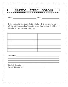 Borrow, Steal!: Worksheets- I made a behavior take home note worksheet ...