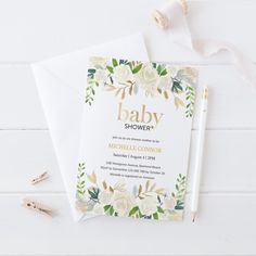White floral Baby shower invitation template for a neutral baby shower Floral Baby Shower, Baby Shower Fun, Gold Baby Showers, Printable Baby Shower Invitations, Create Your Own Invitations, For Your Party, White Flowers, Babyshower, Shower Ideas