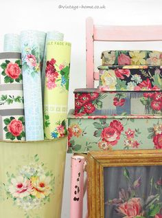 Vintage Home Shop - Collection of Pretty Vintage Wallpaper in Painted Bin and a Stack of French Fabric Boxes: www.vintage-home.co.uk
