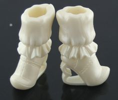Barbie Size Shoes -- Tall White Ruffled Boots W/ Heart Heels