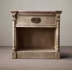 19th C. French Carved Door Bedroom Collection Distressed Natural Oak   Restoration Hardware