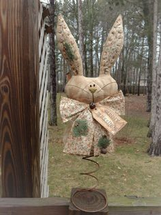 FOLK Art PrimiTive Spring EasTer gruNgy Bunny RABBIT DOLL Cupboard DecoraTion #PrimitiveLookFOLKART #MelissaHarmon