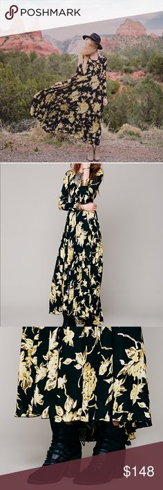 Free People Floral maxi New With Tags. Sold out color and size. Long-sleeved floral printed maxi. Button back closure and keyhole opening at top of back. Skirt portion is lined. Perfect for the upcoming Spring and Summer season! Free People Dresses Maxi