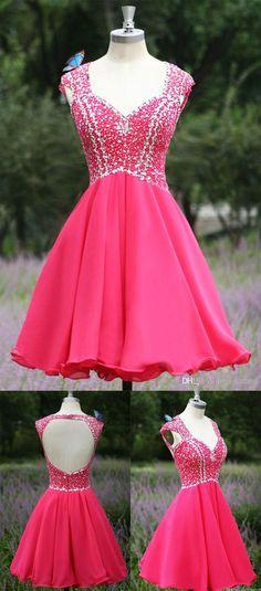 Open back Homecoming Dress, Hot Pink Homecoming Dress, 2016 Homecoming Dress, Short prom Dress, Short Prom Dress #homecoming #homecomingdress #prom #promdress