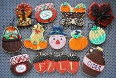 images of ali bee's bake shop cookies Fall Decorated Cookies, Fall Cookies, Cupcake Cookies, Sugar Cookies, Cupcakes, Brush Embroidery, Thanksgiving Cookies, Thanksgiving Ideas, Cookie Designs