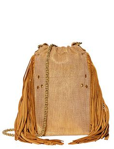 Jerome Dreyfuss Gary Gold Leather Fringe Crossbody
