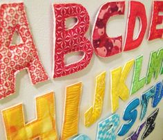 magnetic fabric alphabet. Great Idea!! I could make these and give Quinn hours of entertainment while I'm in the kitchen cooking!
