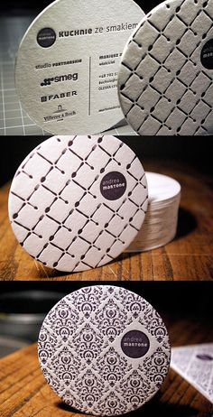A coaster for a restaurant, people collect these - Rounded Letterpress Design