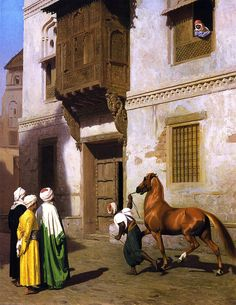 The Athenaeum - Horse Merchant in Cairo (Jean-Léon Gérôme - )  Owner/Location:	Haggin Museum - Stockton, CA  (United States - Stockton, Caifornia)      Dates:	1867 Artist age:	Approximately 43 years old. Dimensions:	Height: 57 cm (22.44 in.), Width: 45 cm (17.72 in.) Medium:	Painting - oil on panel