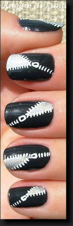 Raggio di Luna Nails: Black & silver zip manicure