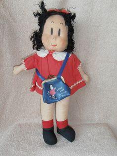 "Vintage Georgene Little LuLU Cloth Mask Face Doll w/ RARE Purse 15"""