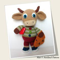 Charley Bull Cow The Ami - Amigurumi crochet pattern - Digital Download - pinned by pin4etsy.com