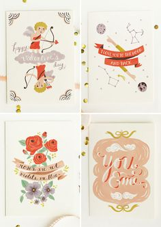 illustrated V-Day Cards from Quill & Fox. Seen on Paper Crave
