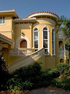 "Sater Group's ""Villoresi"" Custom Home Design - mediterranean - exterior - miami - by Sater Design Collection, Inc. Yellow House Exterior, Stucco Exterior, House Paint Exterior, Exterior Design, Stucco Homes, Roof Design, House Design, Exterior Paint Color Combinations, Exterior Colors"