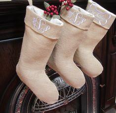 Burlap Christmas Stocking - Monogrammed - Personalized - White Embroidery - Personalized Burlap Christmas Stocking