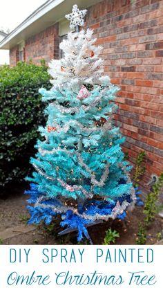 DIY Spray Painted Ombre Christmas Tree ~ tutorial