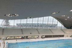 London Aquatics Centre after dismantling temporary structures London Aquatics Centre, Zaha Hadid Buildings, Temporary Structures, Studio C, Olympics, Swimming Pools, Ceiling, School, Interior