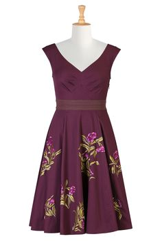 Floral Embellished Poplin Dresses, Fit-And-Flare Poplin Dresses Shop women's Full sleeve dresses - Sundress - Shop for Sundresses - Custom size and style to suit you - | eShakti.com