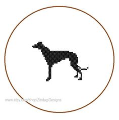 Instant Download Mini Greyhound Dog Silhouette Cross Stitch Pattern Pet animal black wall art nautical card great gift