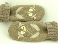 Owl Mittens Felted Wool in Light Brown and Beige by ForMyDarling, $36.00