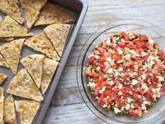 This pesto tomato dip with homemade pita chip recipe is actually as easy as Savory Snacks, Yummy Appetizers, Appetizer Ideas, Dip Recipes, Desserts, Quick Easy Healthy Meals, Healthy Holiday Recipes, Real Food Recipes, Dessert