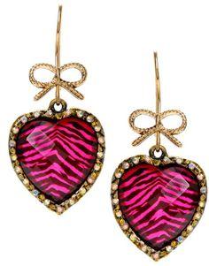 Betsey Johnson Pink Leopard Heart Earrings in Black (pink)