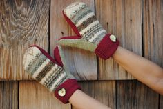 Recycled Sweater Mitten Patterns | DIY- Mitten Tutorial and Pattern- Made from recycled sweaters-...