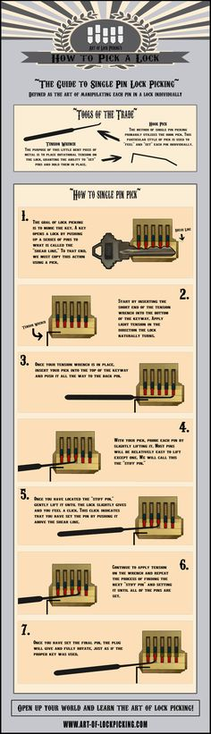 "Guide to Lock Picking <a class=""pintag"" href=""/explore/Infographic/"" title=""#Infographic explore Pinterest"">#Infographic</a> <a class=""pintag searchlink"" data-query=""%23Lockpicking"" data-type=""hashtag"" href=""/search/?q=%23Lockpicking&rs=hashtag"" rel=""nofollow"" title=""#Lockpicking search Pinterest"">#Lockpicking</a>"