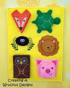 Shape Animals Matching Board Book page Machine embroidery - in the hoop design. Livre d'apprentissage. Machine à broder. Quiet Book Templates, Quiet Book Patterns, Felt Patterns, Diy Quiet Books, Felt Quiet Books, Felt Crafts, Fabric Crafts, Friend Crafts, Book Quilt