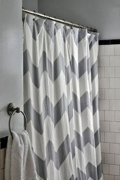 Trendy Gray Chevron Pattern Trending In Bathroom Decor 50 Shades Of Grey Shower Curtains From Bliss By Rotator Rod Guest Bath For Sure