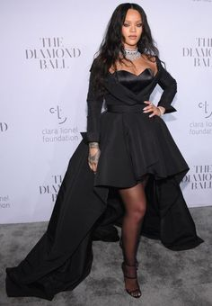 Rihanna in a high-low Ralph & Russo black dress at the Diamond Ball