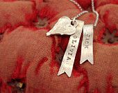 personalized sterling silver necklace ribbon banner charm with antique heart