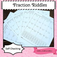 Fraction Riddles (adding, subtracting, multiplying, and dividing): Motivating and self checking. Included: 5 fraction riddle worksheets Answer keys with work shown. *Adding and Subtracting *Multiplying *Dividing *Multiplying and dividing *All four operations. Simone's Math Resources