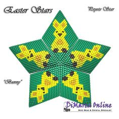 TUTORIAL EASTER BUNNY 3D PEYOTE STAR + Basic Instructions Little 3D Peyote Star This beading pattern provides a colour diagram and text to create the Easter Bunny 3D Peyote Star. Included are also the step by step instructions with clear 3D images of how to create a 3D Star in peyote: