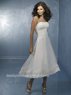 Simple White A-Line/Princess Tea-length Tulle Garden/Outdoor Wedding Dress With Buttons (MW3BG3)-LuckyDressShop.com